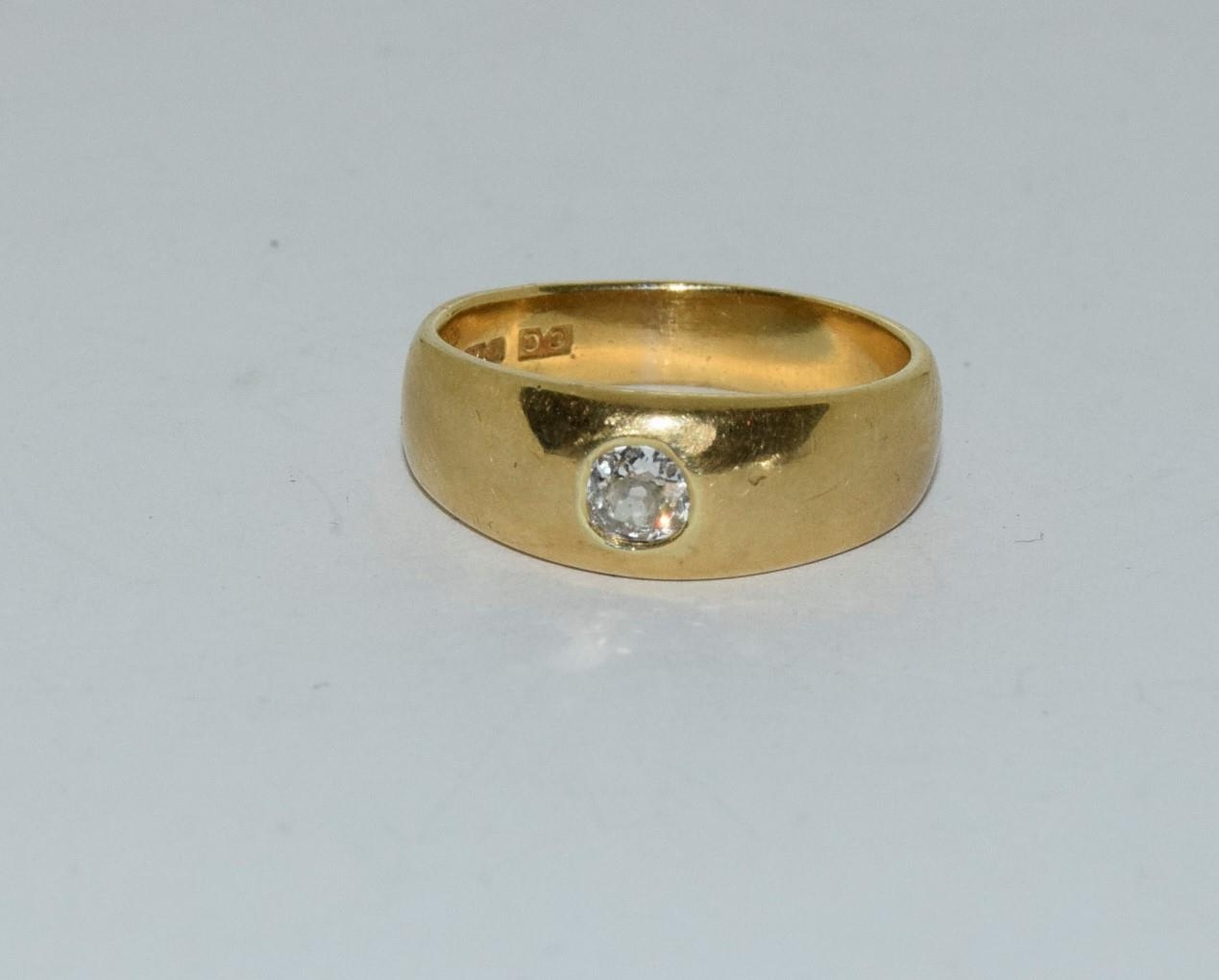 18ct gold mans signet ring set with diamond solitaire of approx 0.25ct size R 9.5gm - Image 6 of 6