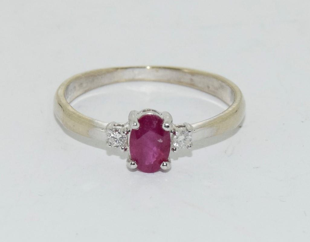 Ruby and Diamond 9ct gold ring, Size O. - Image 6 of 6