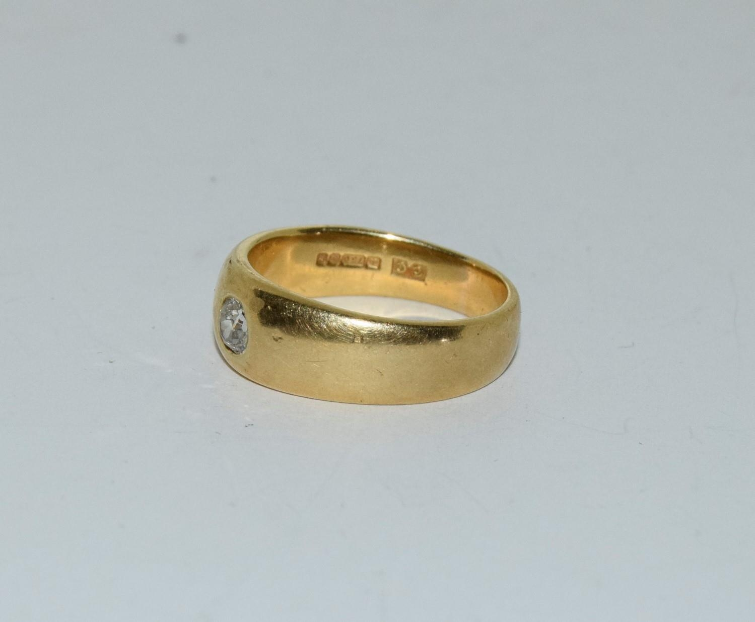 18ct gold mans signet ring set with diamond solitaire of approx 0.25ct size R 9.5gm - Image 4 of 6