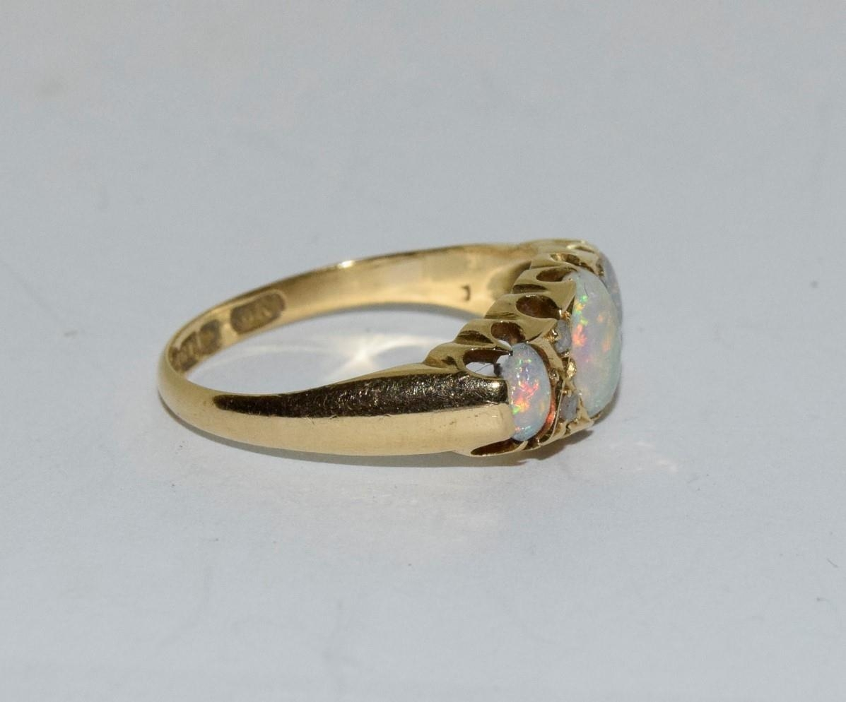 Antique 18ct gold opal/diamond boxed ring, Size P - Image 5 of 6
