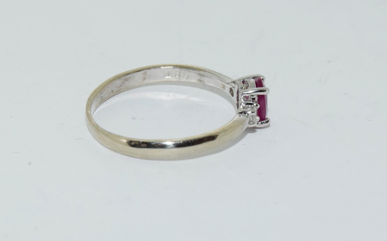 Ruby and Diamond 9ct gold ring, Size O. - Image 2 of 6