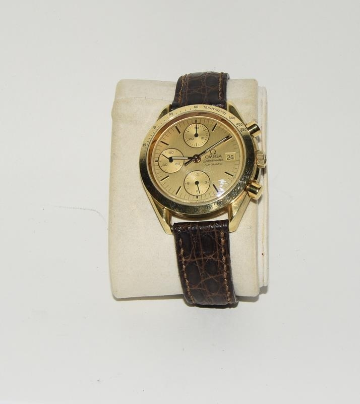 Omega Speedmaster 18 carat gold Gents Chronograph watch - automatic, boxed. - Image 2 of 8