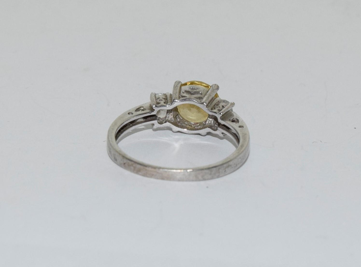 Yellow C/Z 925 silver ring, Size R - Image 3 of 3