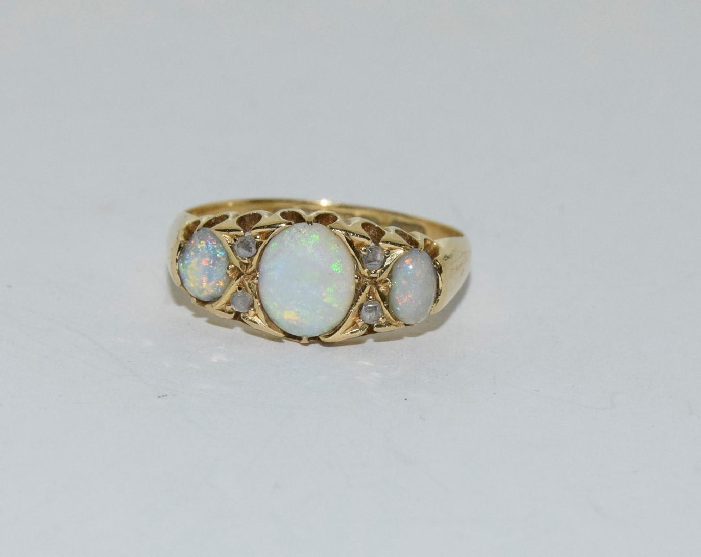 Antique 18ct gold opal/diamond boxed ring, Size P