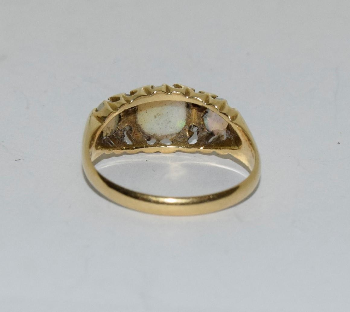 Antique 18ct gold opal/diamond boxed ring, Size P - Image 3 of 6