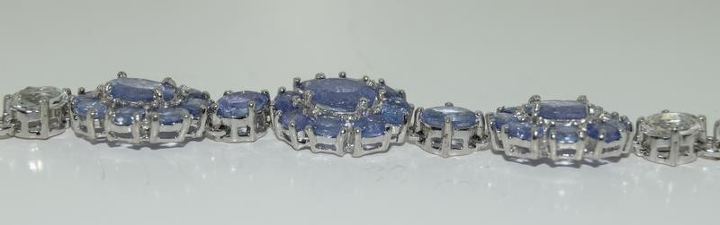 14ct gold on silver tanzanite and white zircon bracelet - Image 4 of 4