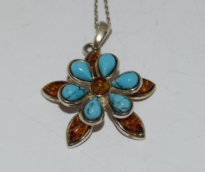 Turquoise Baltic honey amber 925 silver daisy pendant.