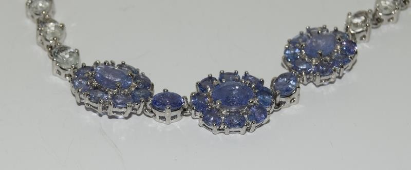 14ct gold on silver tanzanite and white zircon bracelet - Image 2 of 4
