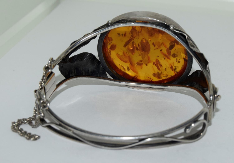 Amber silver set bracelet/brooch. - Image 5 of 5
