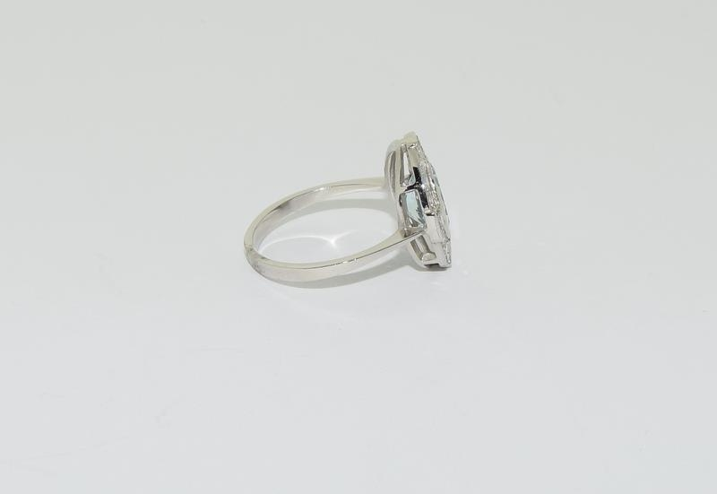 A Platinum aquamarine and diamond ring, Size M - Image 2 of 6
