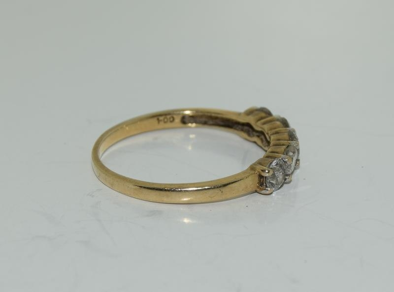 9ct gold ladies 5 stone diamond ring h/m 1ct size P - Image 2 of 6