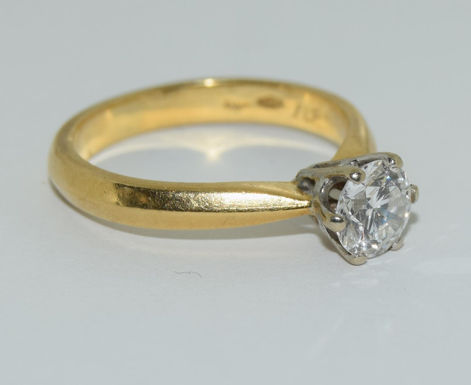 An 18ct white gold ladies diamond solitaire ring 0.75ct Approx., Size M. - Image 5 of 6