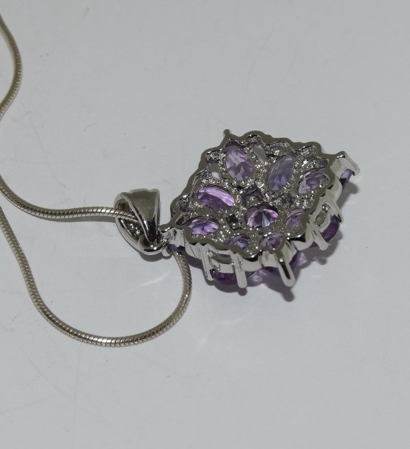 A large Amethyst daisy cluster 925 silver pendant. - Image 3 of 3