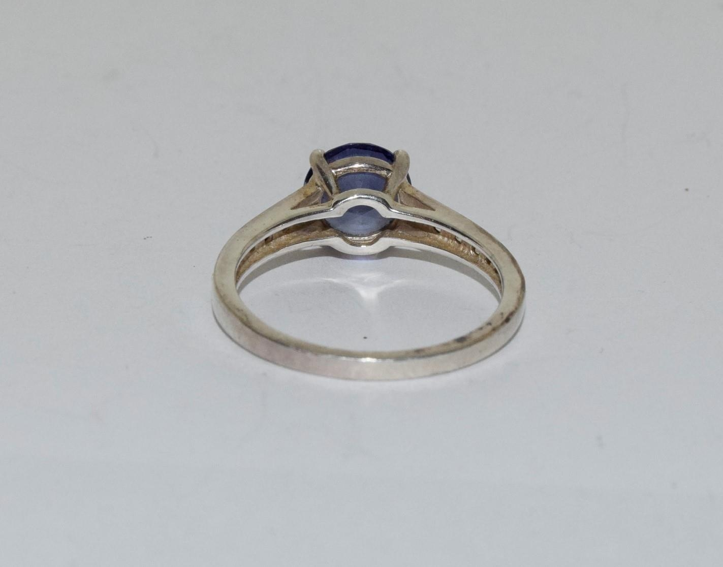 A Blue stone silver 925 ring, size R - Image 3 of 3