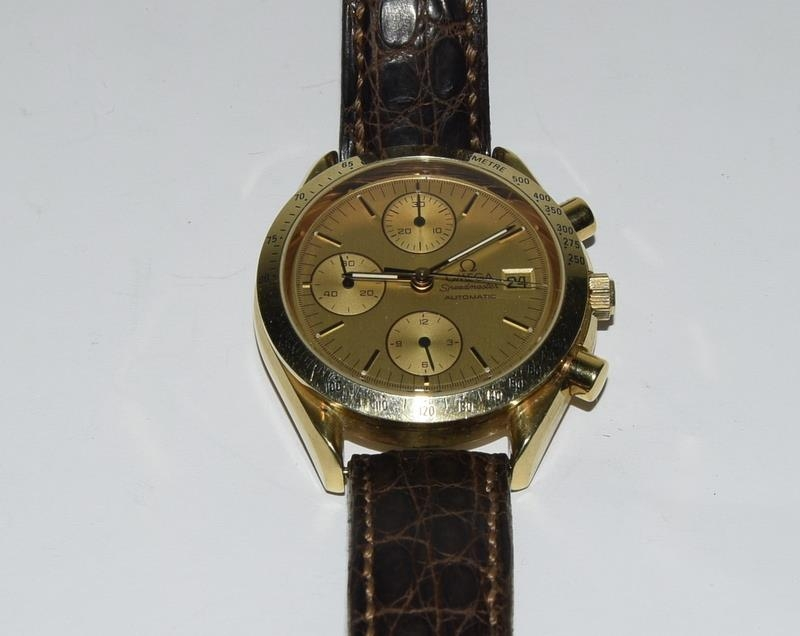 Omega Speedmaster 18 carat gold Gents Chronograph watch - automatic, boxed. - Image 6 of 8