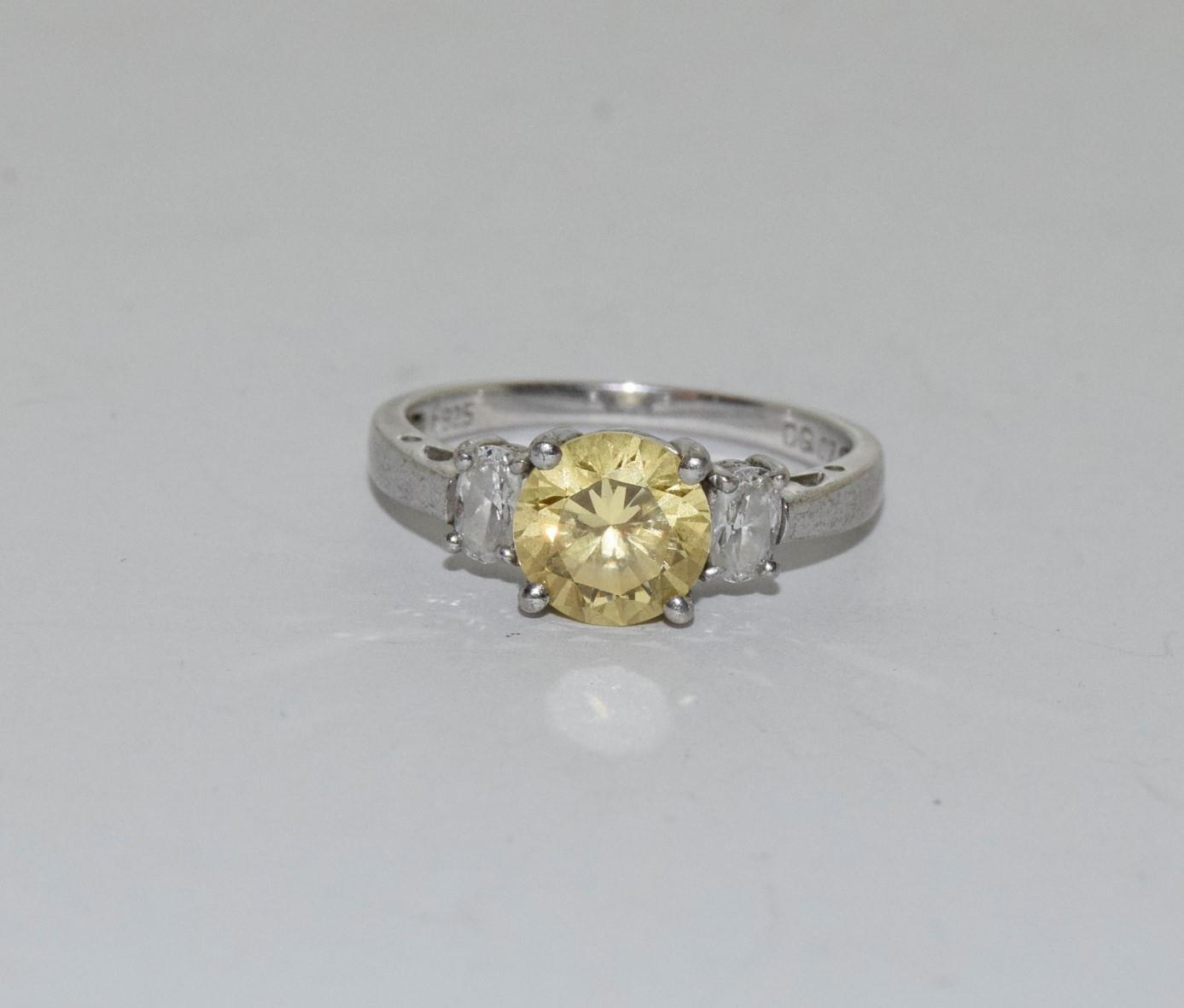 Yellow C/Z 925 silver ring, Size R
