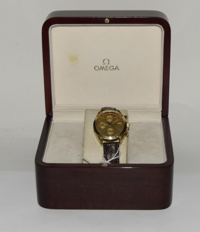 Omega Speedmaster 18 carat gold Gents Chronograph watch - automatic, boxed. - Image 8 of 8