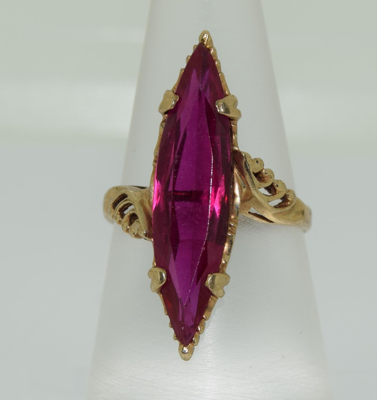 9ct gold pink tourmaline diamond shape ring size M