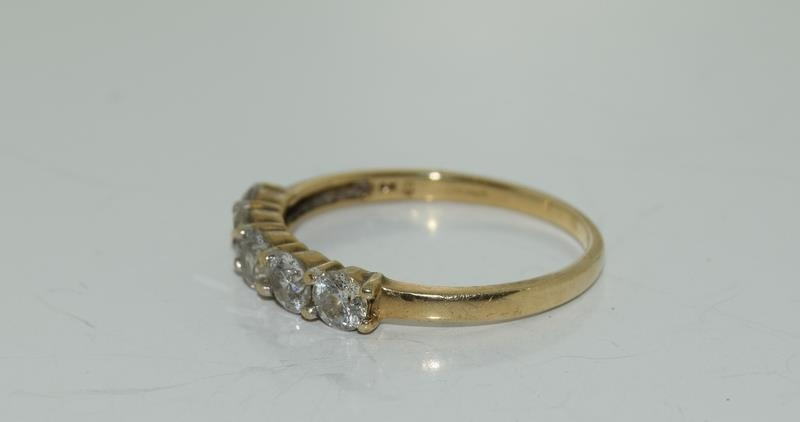 9ct gold ladies 5 stone diamond ring h/m 1ct size P - Image 4 of 6