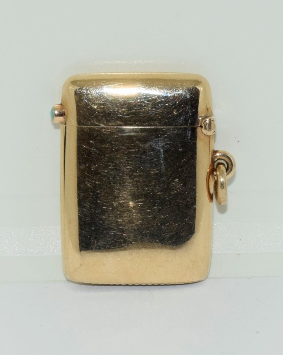 9ct gold Vesta case with a turquoise cabochon fully hallmarked for London 1878 by George Gray - Image 2 of 6
