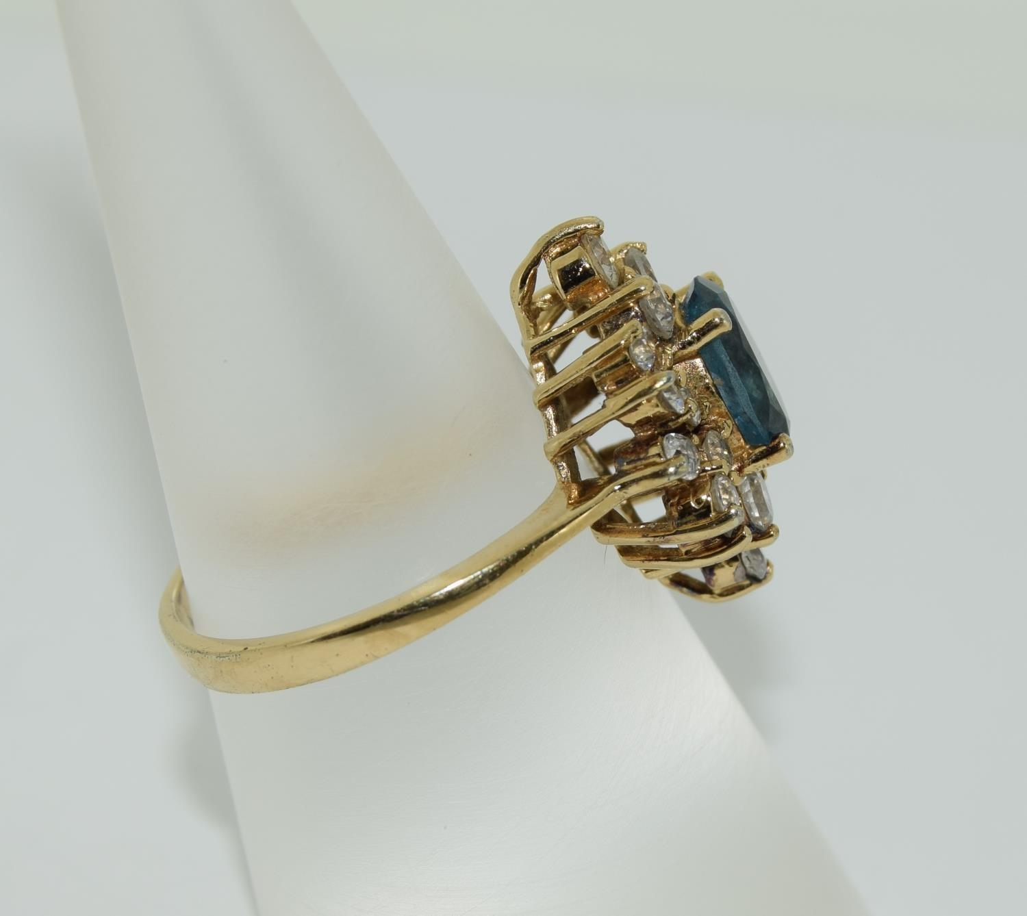 Blue Topaz gold on silver cluster ring, Size N 1/2. - Image 2 of 3