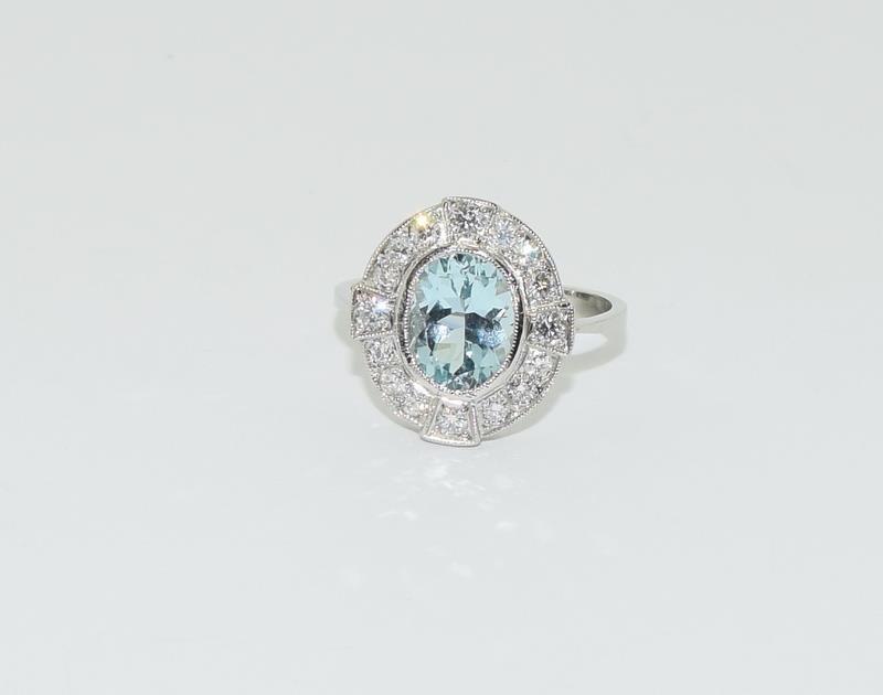 A Platinum aquamarine and diamond ring, Size M - Image 6 of 6