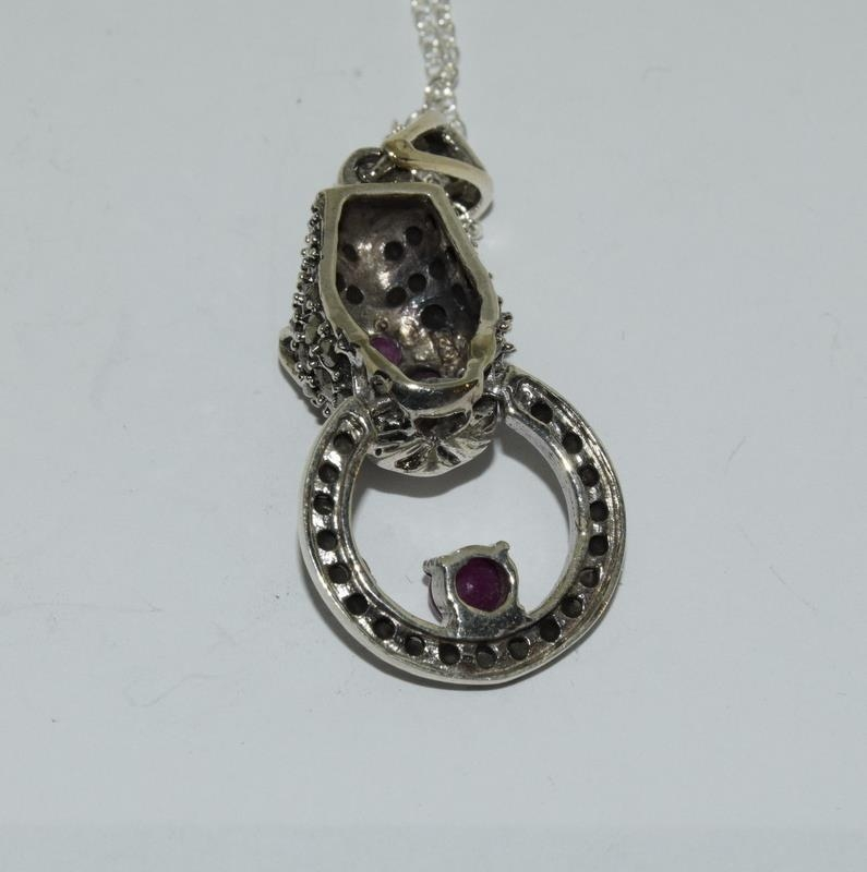 A silver and Ruby set Cartier style Leopard shaped pendant necklace. - Image 3 of 4
