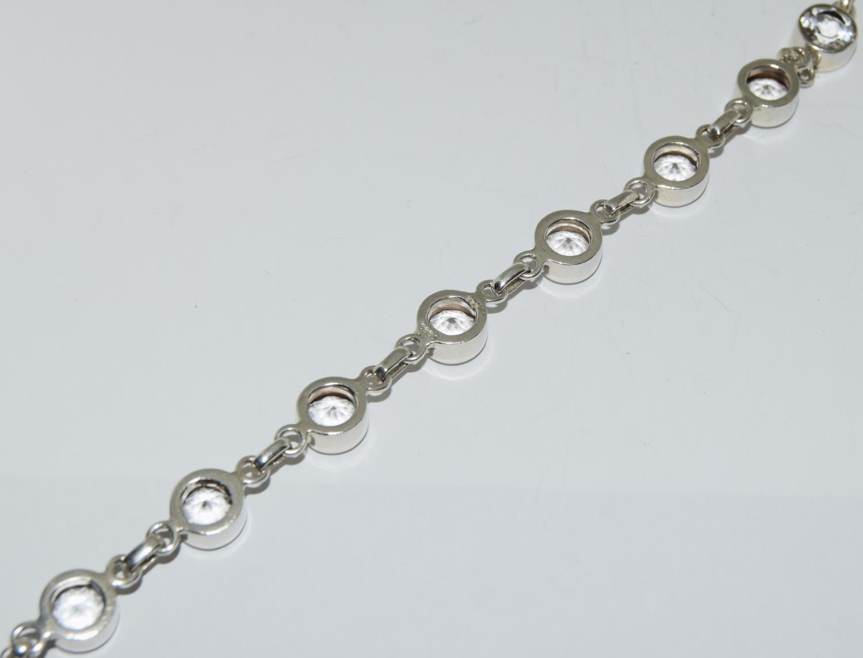Large white Topaz 925 silver line T bar bracelet. - Image 4 of 4
