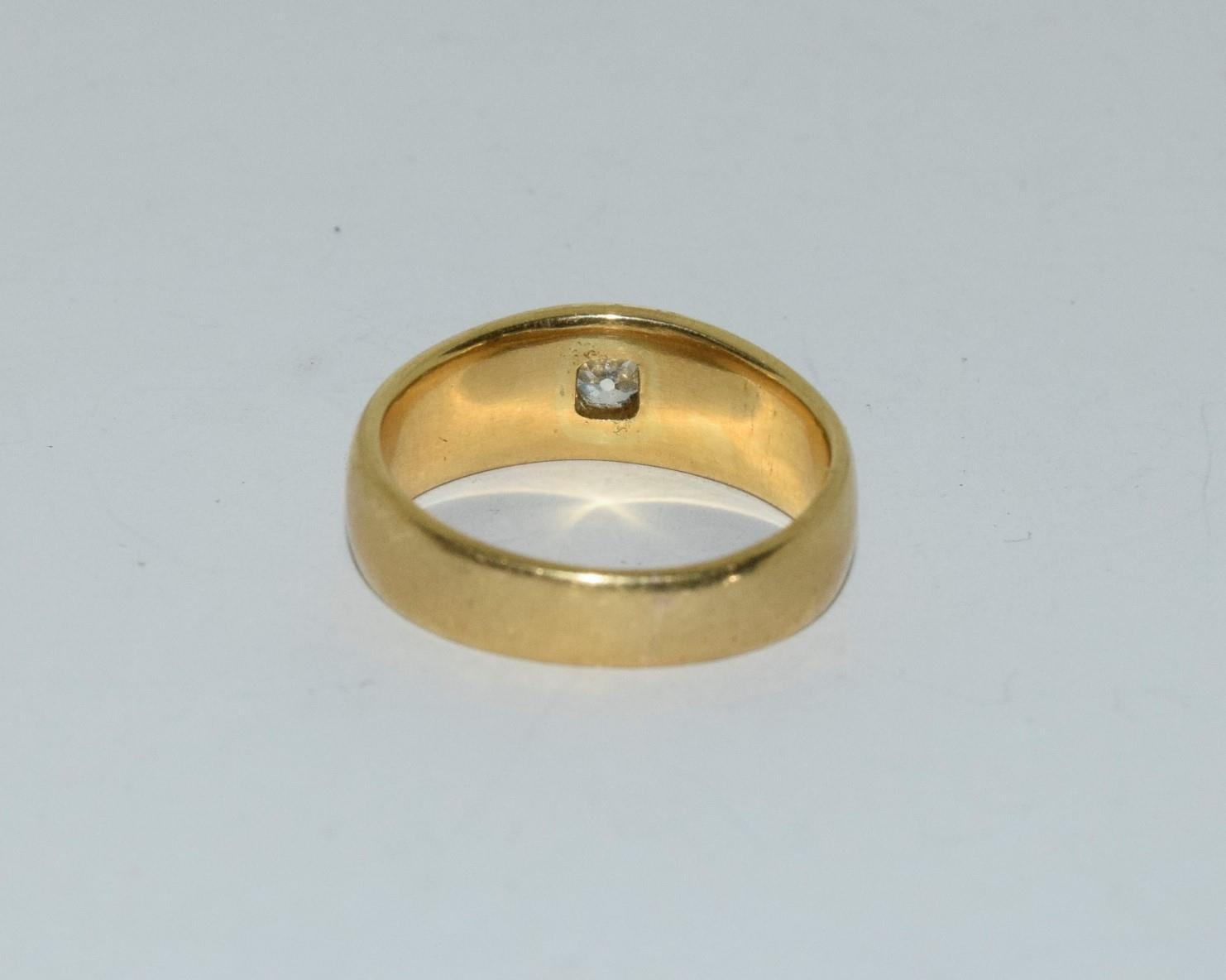 18ct gold mans signet ring set with diamond solitaire of approx 0.25ct size R 9.5gm - Image 3 of 6