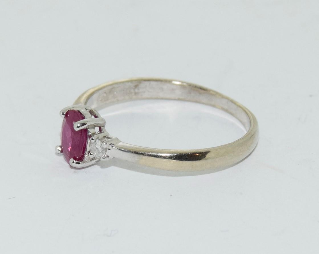 Ruby and Diamond 9ct gold ring, Size O. - Image 4 of 6