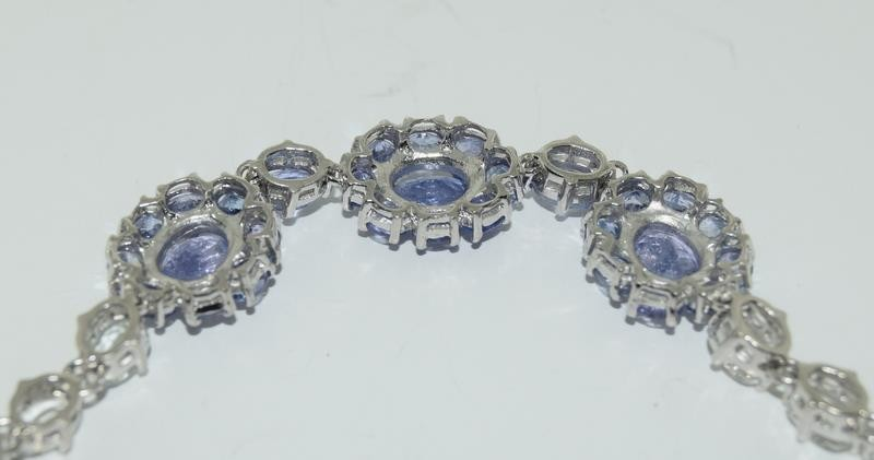14ct gold on silver tanzanite and white zircon bracelet - Image 3 of 4