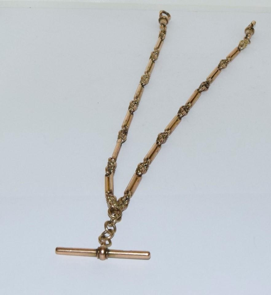 9ct gold fancy double sided watch chain 48cm total length 40gm