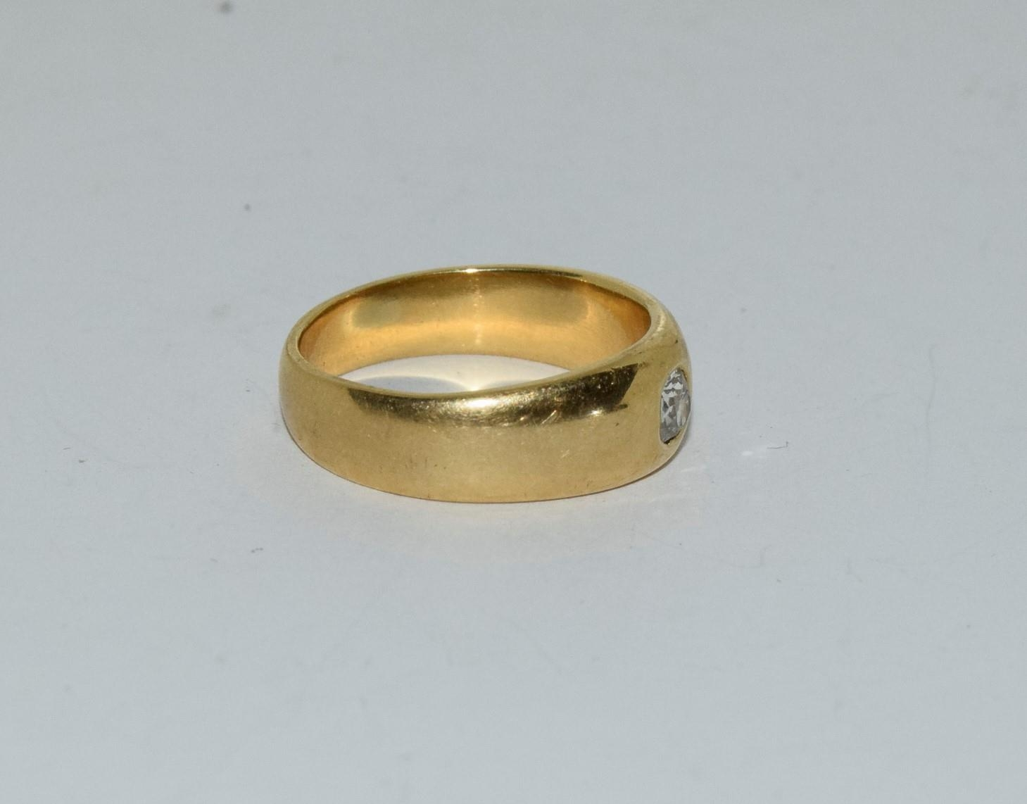18ct gold mans signet ring set with diamond solitaire of approx 0.25ct size R 9.5gm - Image 5 of 6