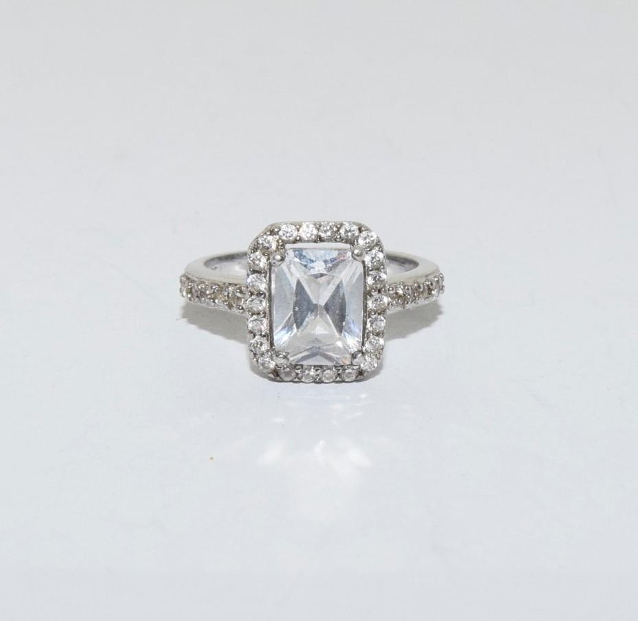 Square shaped CZ silver ring, size J