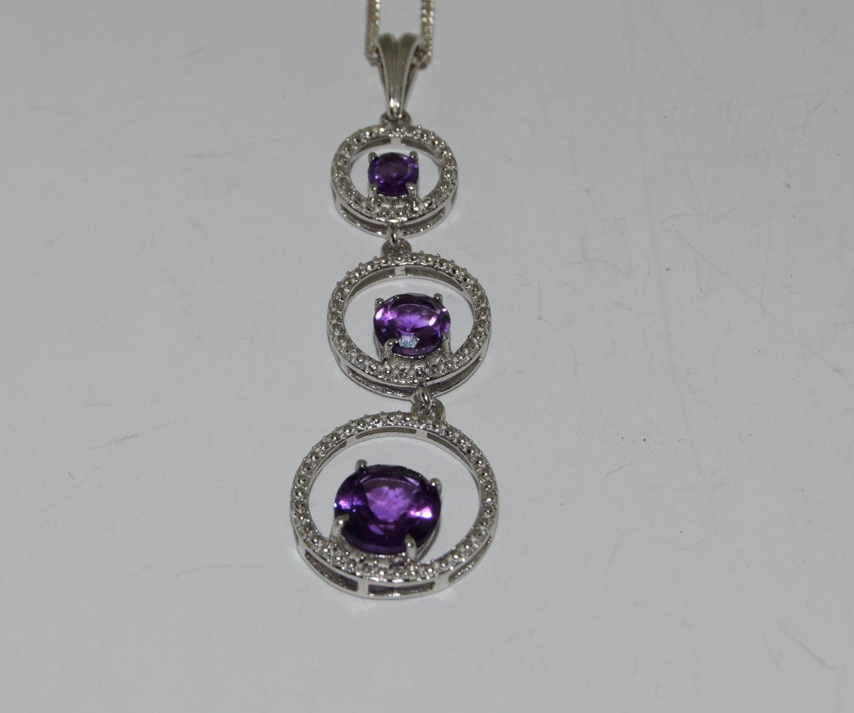 Amethyst 925 silver Art Deco designed pendant.