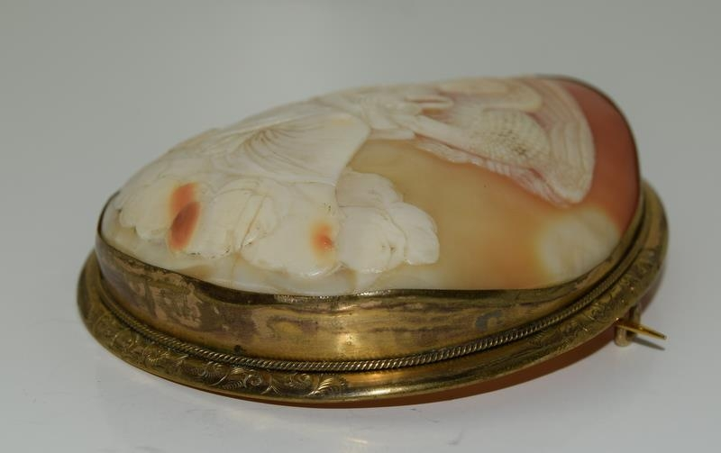 Large Victorian cameo broach finely carved - Image 3 of 5
