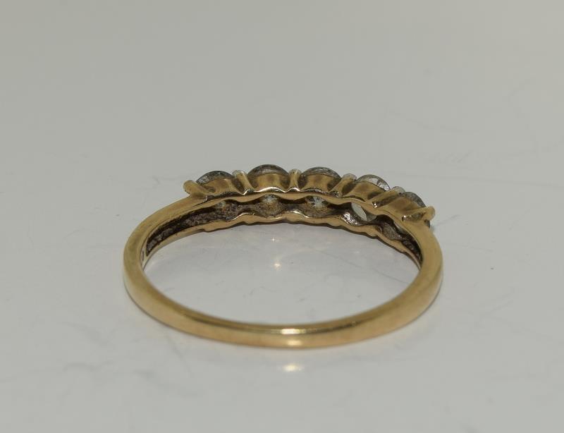 9ct gold ladies 5 stone diamond ring h/m 1ct size P - Image 3 of 6