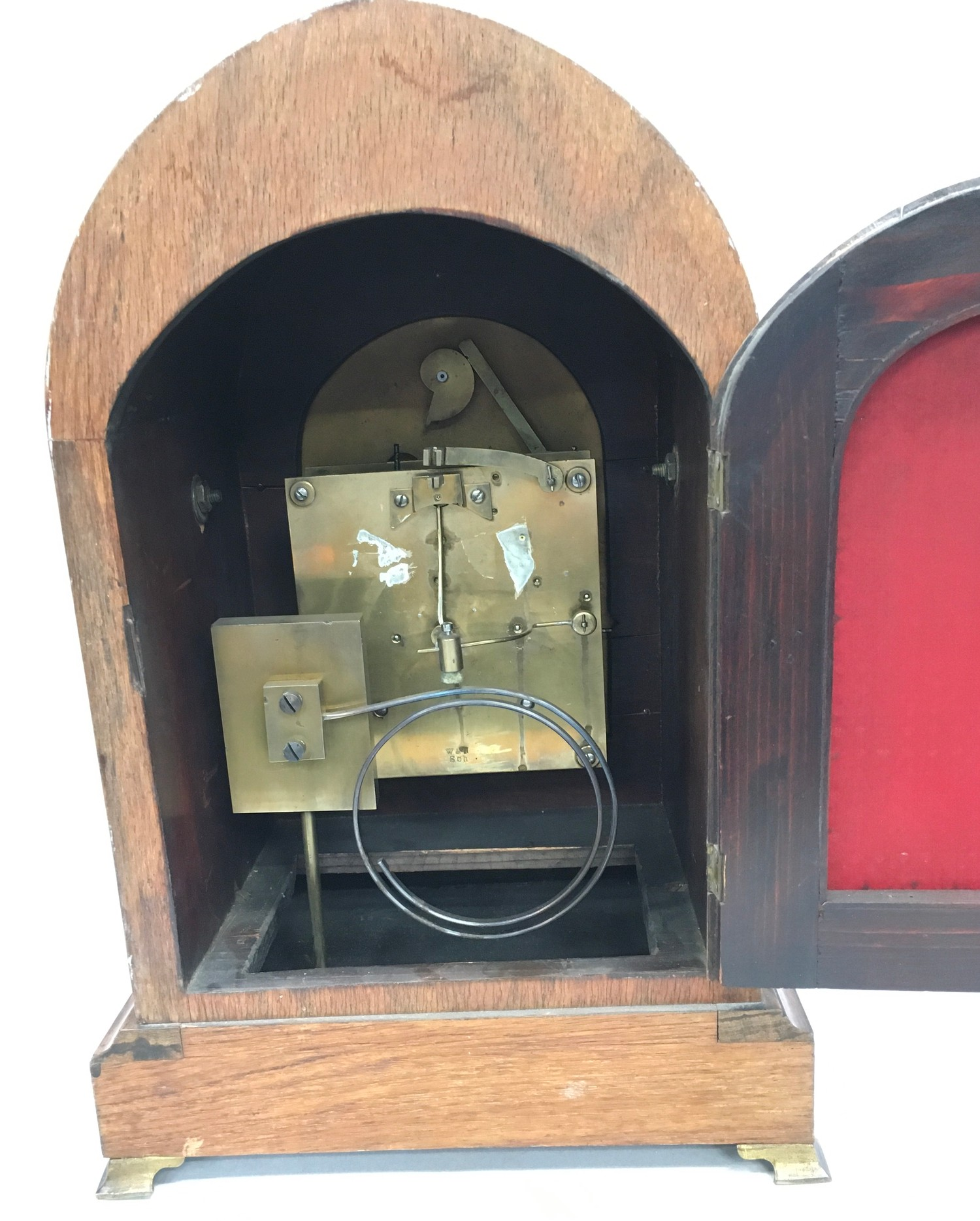 Edwardian in laid dome shape striking mantle clock,with brass face on brass feet and side carrying - Image 5 of 8