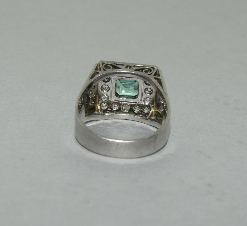 Platinum Art Deco Emerald Diamond ring. Size N. - Image 3 of 6