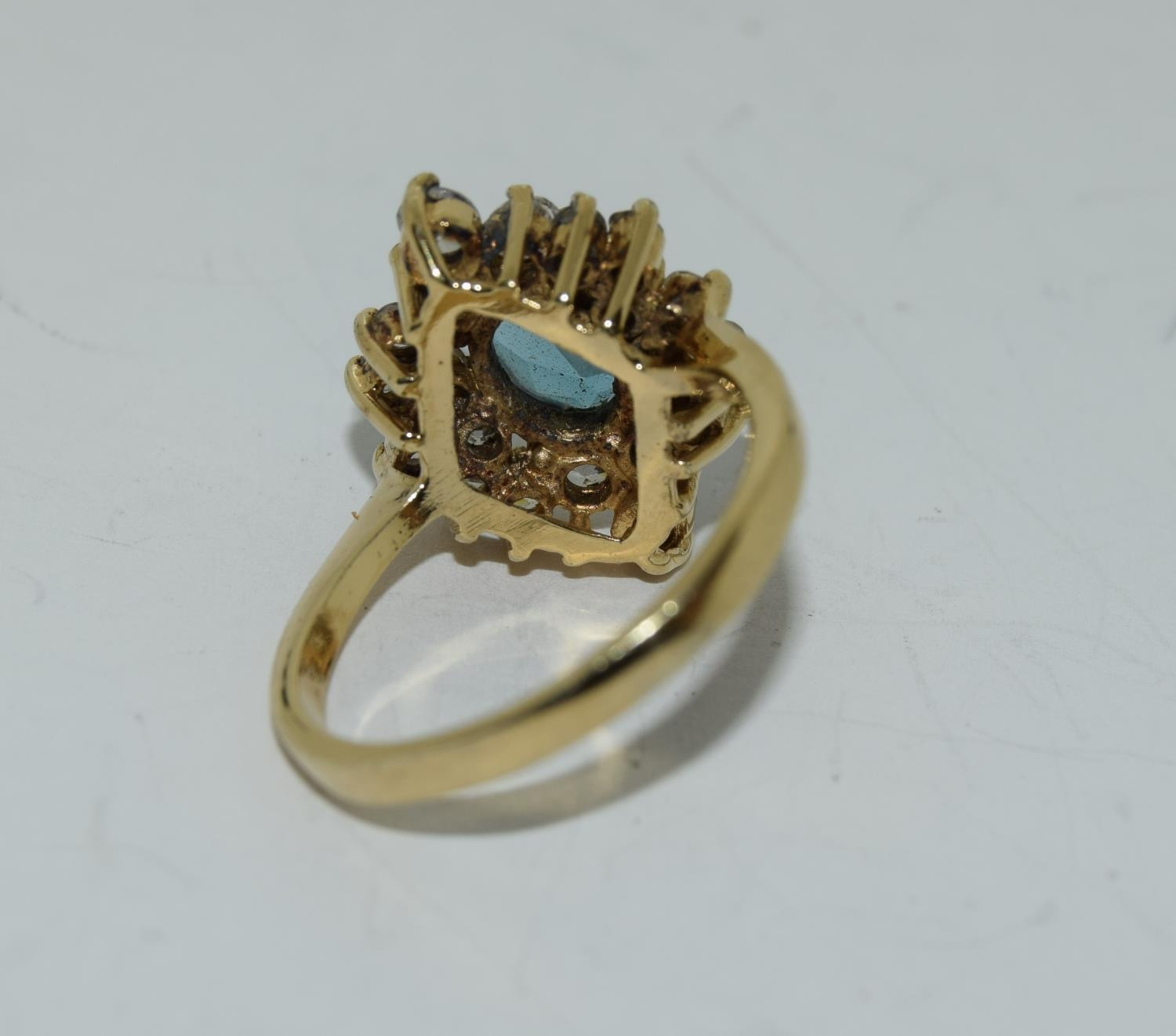Blue Topaz gold on silver cluster ring, Size N 1/2. - Image 3 of 3