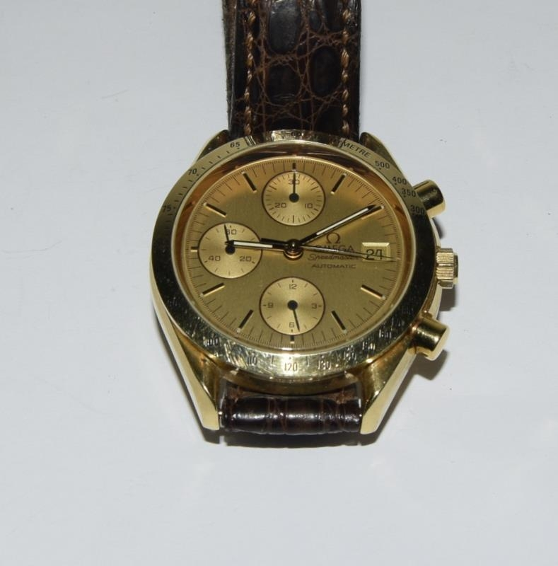 Omega Speedmaster 18 carat gold Gents Chronograph watch - automatic, boxed. - Image 7 of 8