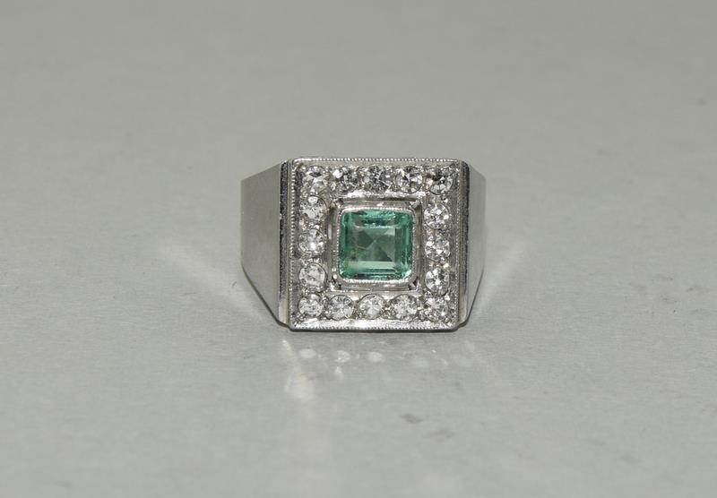 Platinum Art Deco Emerald Diamond ring. Size N.