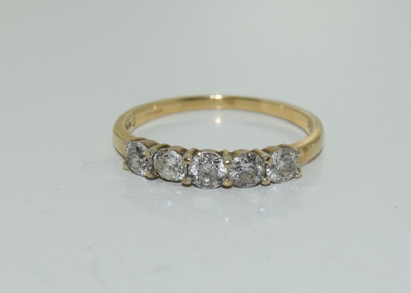 9ct gold ladies 5 stone diamond ring h/m 1ct size P