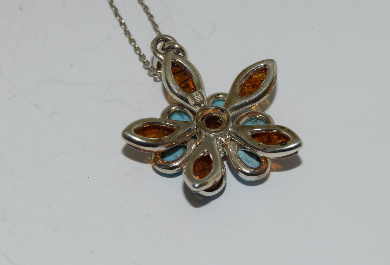 Turquoise Baltic honey amber 925 silver daisy pendant. - Image 3 of 3