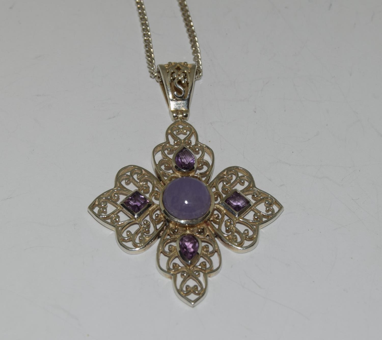 Large Lavender Jade and Amethyst 925 silver pendant.