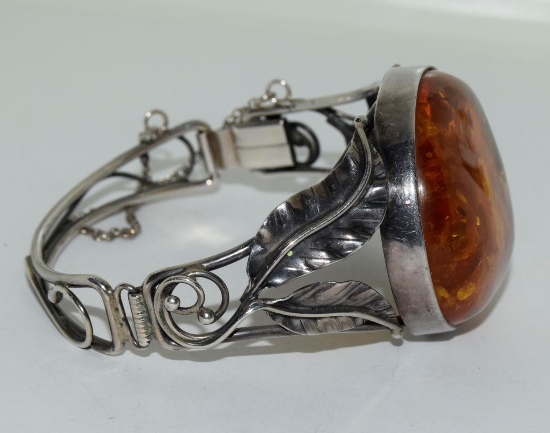 Amber silver set bracelet/brooch. - Image 2 of 5