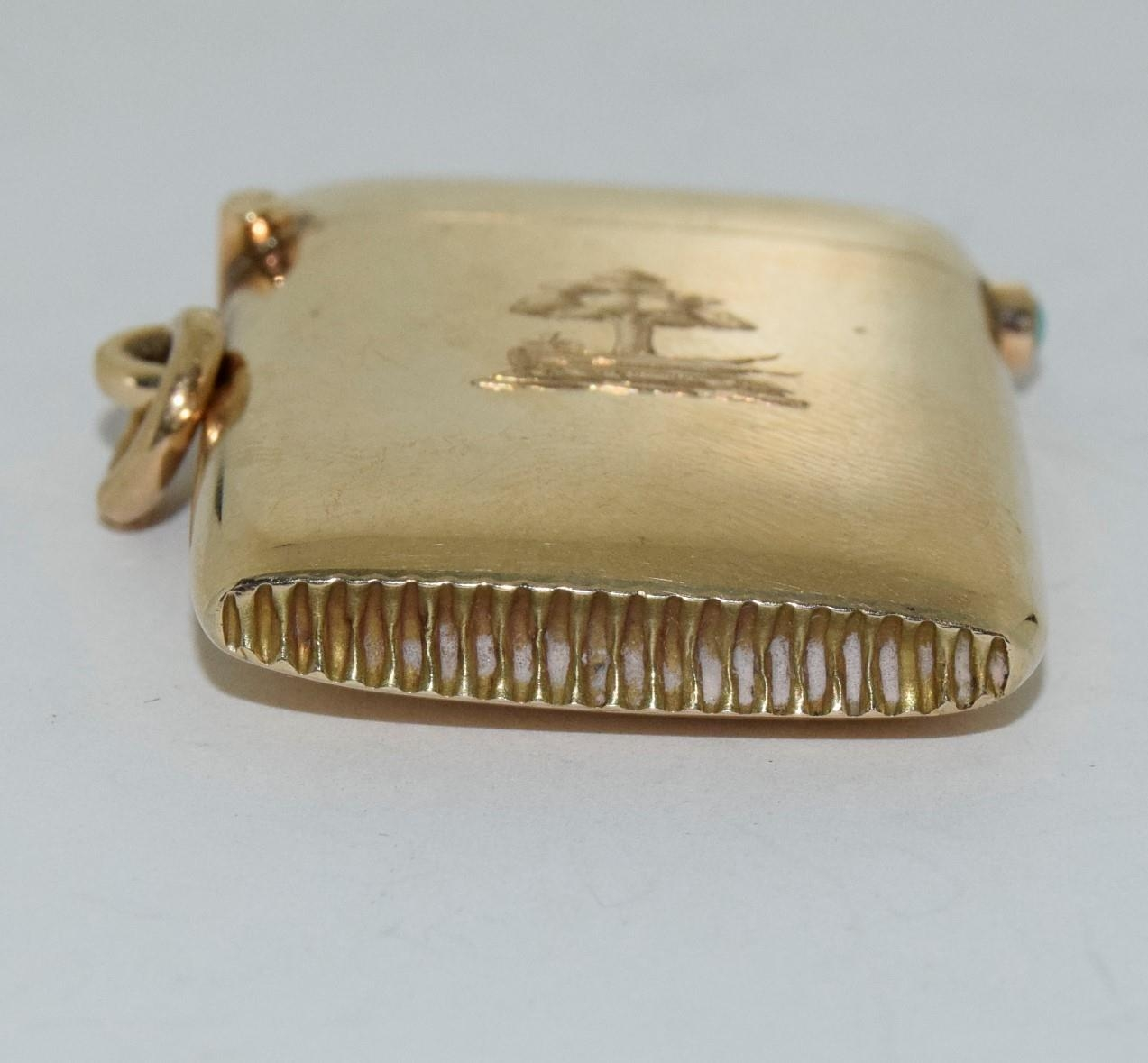 9ct gold Vesta case with a turquoise cabochon fully hallmarked for London 1878 by George Gray - Image 5 of 6