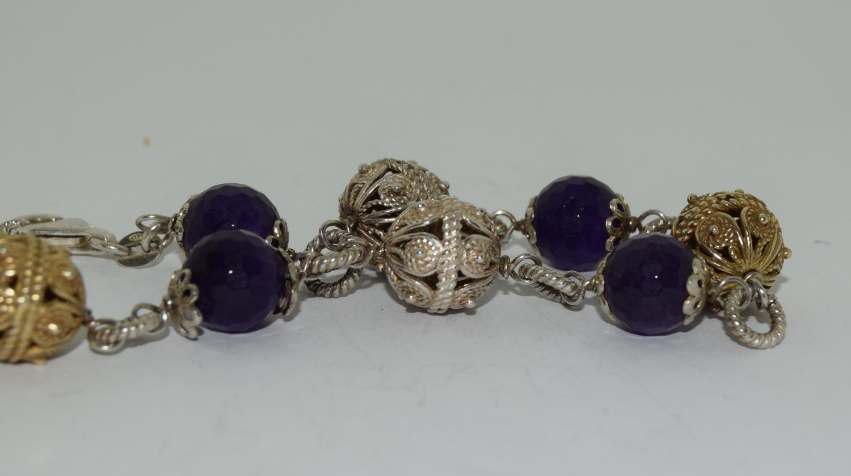 Amethyst ornate gold on silver ball bracelet. - Image 3 of 3