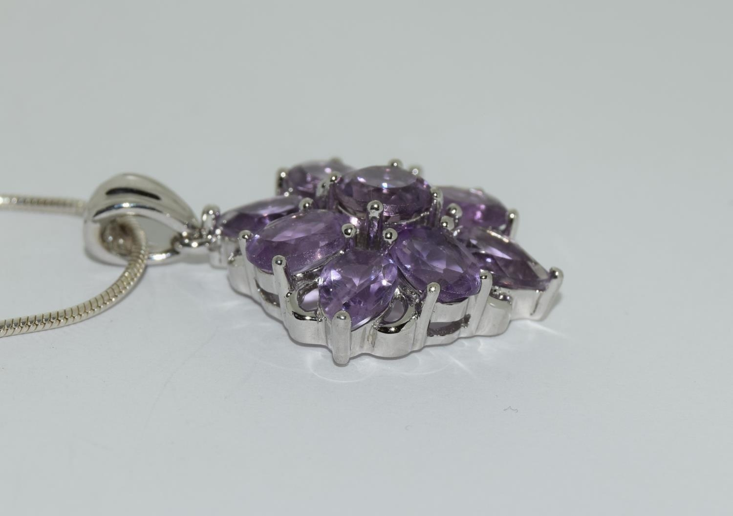 A large Amethyst daisy cluster 925 silver pendant. - Image 2 of 3
