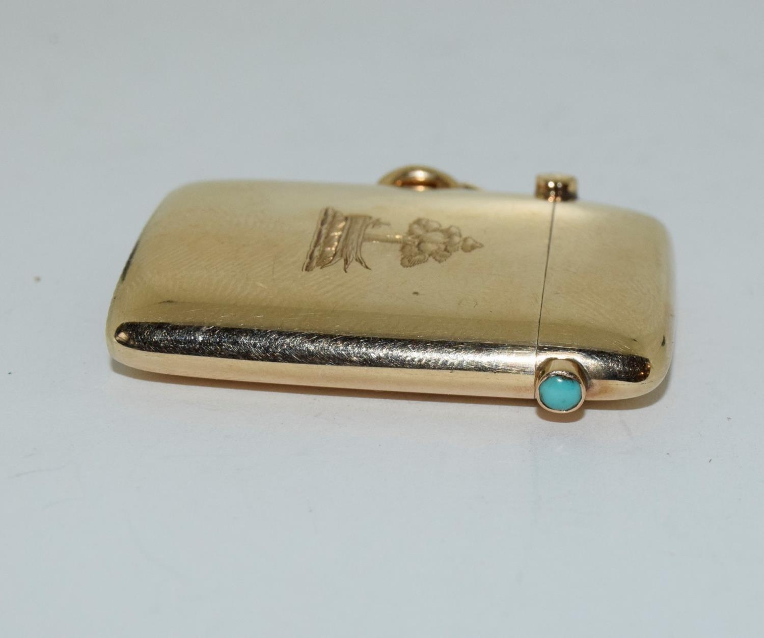 9ct gold Vesta case with a turquoise cabochon fully hallmarked for London 1878 by George Gray - Image 4 of 6